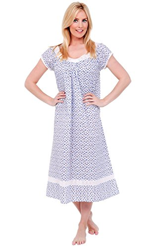 Alexander Del Rossa Womens Adele Cotton Nightgown, Long Victorian Sleepwear, Large Blue Floral Print (A0528P87LG) ()
