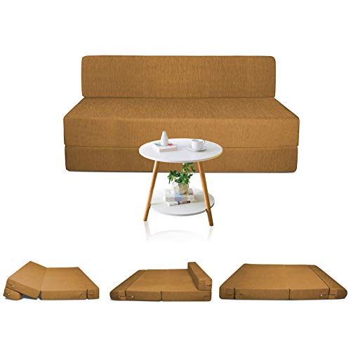 Urban Decor High Density Foam 4X6 Feet Two Seater Sofa Cums Bed Fold Out Golden Color