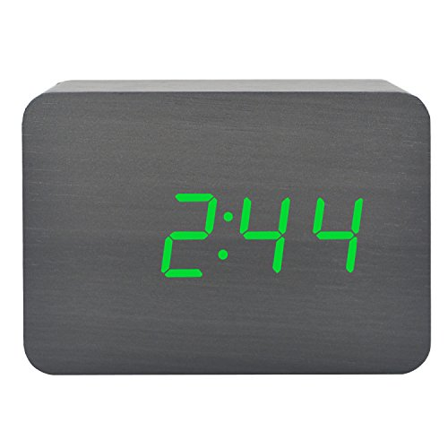 GO HAND Classic Silent Environmentally Friendly Wood Clock Electronic LED Digital Display Child's Dual Power Desktop Home Travel Alarm Clock (Black Wood Green (Soft White Learning Tower)