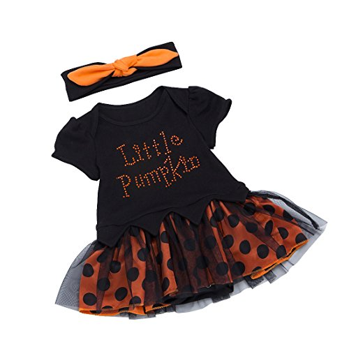 Slowera Baby Girls Halloween Romper Dress and Hair Band Sets (L:9-12Months) (Halloween 9-12 Months)