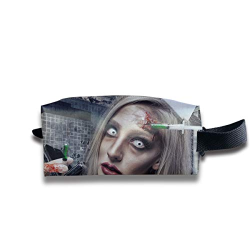 Halloween Zombie Bloody Nurse Scary Multi-Function Key Purse Coin Cash Pencil Travel Makeup Toiletry Bag Box Case -