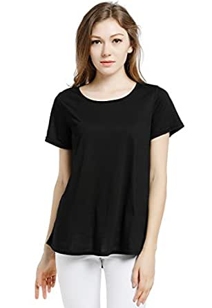 Blooming Jelly Women's Scoop Neck Short Sleeve Loose Wrinkle Viscose T Shirt Blouse Tops (Small)