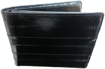100%Genuine EEl Skin Bi-fold Mens Wallet Black #E316