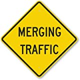 Merging Traffic, Engineer Grade Reflective Aluminum Sign, 80 mil, 24'' x 24''