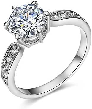 Serend 18k Rose Gold Plated 1.5ct Heart and Arrows Cut Cubic Zirconia Solitaire Engagement Ring