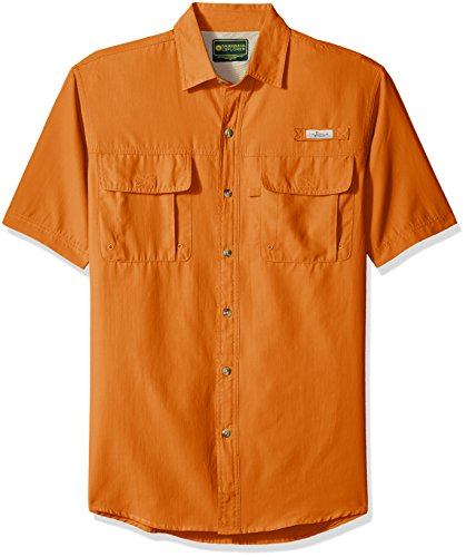 Mens Explorer (G.H. Bass & Co. Men's Explorer Point Collar Short Sleeve Fishing Shirt, Large, Orange Harvest)