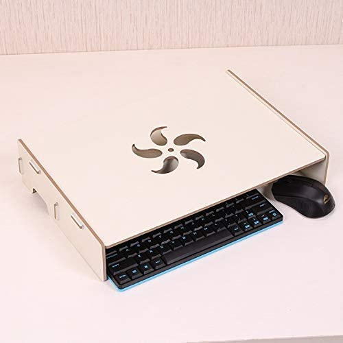 Color : White Wood Stand with Keyboard Wiring Slot for Computer Monitor//Laptop Black