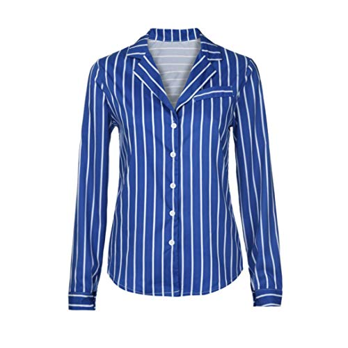 Australia Costume Jacket Straight (URIBAKE Womens Casual Long Sleeve Blue Stripe Button T-Shirts Irregular Ladies' Tops Blouse Tee)