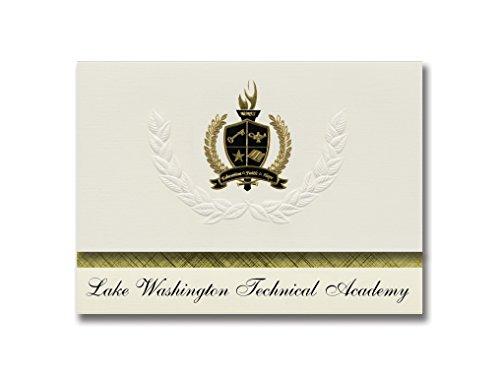 Signature Announcements Lake Washington Technical Academy  Kirkland  Wa  Graduation Announcements  Presidential Basic Pack 25 With Gold   Black Metallic Foil Seal