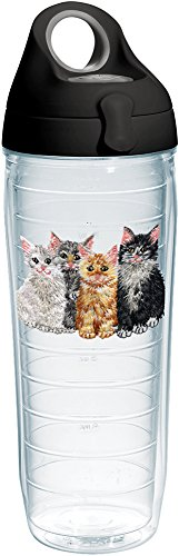 ns Tumbler with Emblem and Black with Gray Lid 24oz Water Bottle, Clear ()