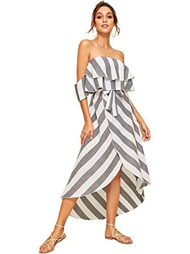 (SheIn Women's Ruffle Belted Off Shoulder Striped Print Short Sleeve Dress X-Large)