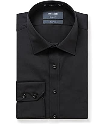 Van Heusen Men's Euro Fit Shirt Solid, Black, 38cm Collar x 86cm Sleeve