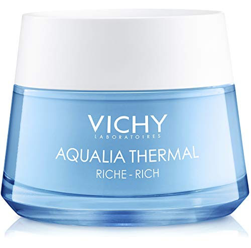 Vichy Aqualia Thermal Rich Cream Moisturizer for Dry Skin with Hyaluronic Acid, 97% Natural Origin Ingredients, 1.69 Fl. Oz.