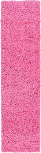 Unique Loom Solo Solid Shag Collection Modern Plush Taffy Pink Runner Rug (2' 6 x 10' -
