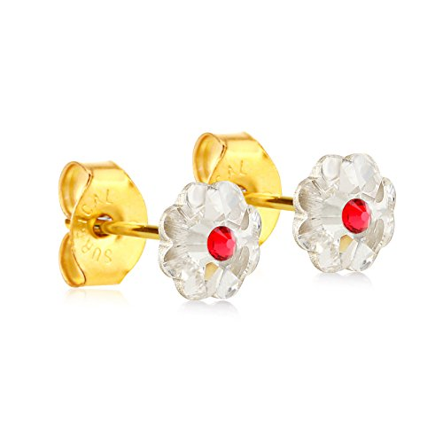 6mm Stud Earrings for Women & Girls| Swarovski Flower Crystals, 14K Gold Plated| Made With Hypoallergenic, Surgical Stainless Steel| Jewelry Gifts by Clecceli (Clear & Red)