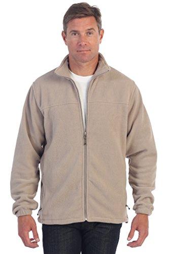 Gioberti Mens Full Zip Polar Fleece Jacket, Khaki, Large