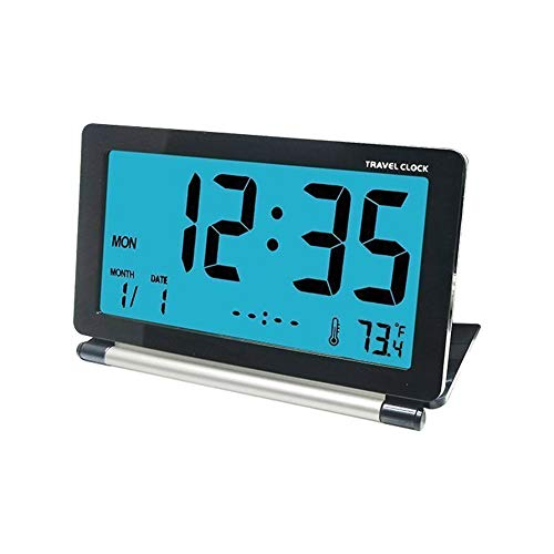 Bac bac Electronic Alarm Clock|Large Screen Display Alarm Clock|Multi-Function Digital Alarm Clock|Bedside Alarm|Snooze|Non Ticking| Thermometer|Home Decoration (Color : Black)