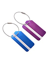 Tinksky 2pcs Travel Luggage Baggage Tags Suitcase Identifiers with Name Cards Metal Strings