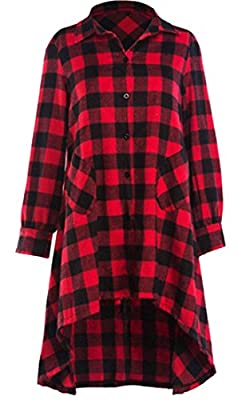 Yayun Yayu Womens Casual Long Sleeve Buttons Pockets Plaid Dress Shirts