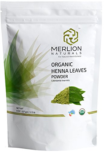 Organic Henna Leaves Powder by MERLION NATURALS | Lawsonia Inermis | 227 g / 8 OZ / 1/2 lb | USDA NOP Certified 100% Organic | For Natural Hair Color - Conditioning Food Fall