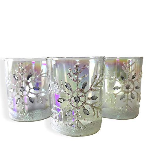 BANBERRY DESIGNS Snowflake Candle Holders - Set of 3 White Glittery Christmas Snowflake Votive Candle Holders - LED Tealights Included - Hand Painted and Jeweled Design -