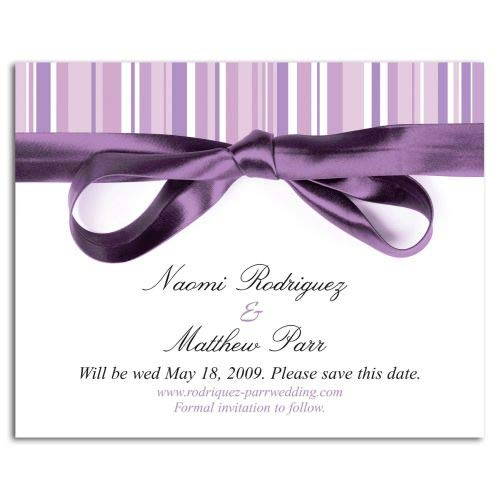 Lavender Stripe Save The Date Magnet -