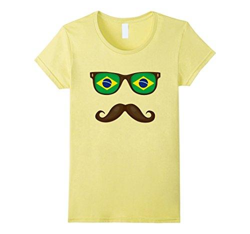 Women's Brazilian Flag Sunglasses Moustaches T-shirt Brazil Shirt Small - Brazil Sunglasses