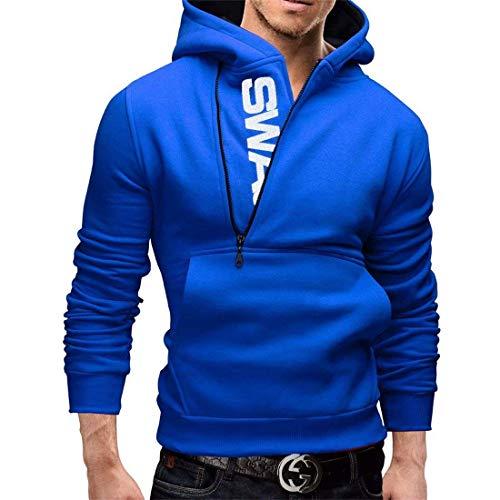 Automne Hommes Couleur Sweater Collision Hoodie Niveau Et Longues Tête D'écriture Hiver Moderne Casua Bleu Sport Zip Manches Pull À Kit 5YF1xZwxq
