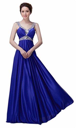 Ausschnitt Perlen Kleider Kmformals V Blau Damen Prom Straps wAwtH1q