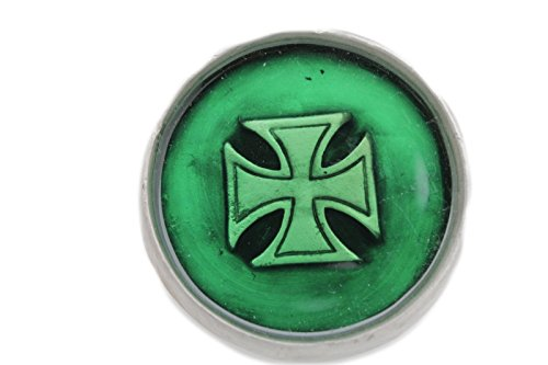 TFJ Men Gothic Belt Buckle Punk Biker Fashion Silver Metal Big Iron Cross Green