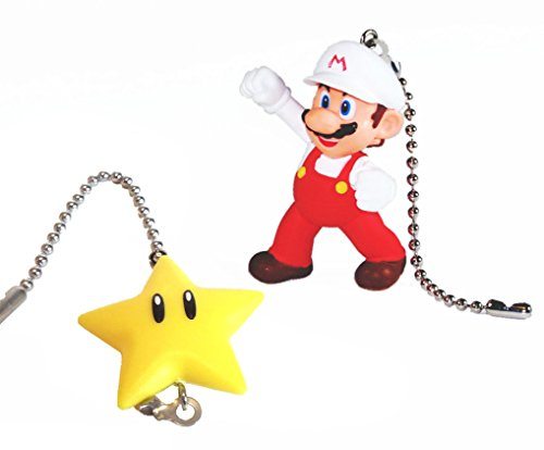 [Mario Bros Ceiling Fan Pull Set by Wooden Androyd Studio (Mario & Super Star)] (Music Stars Halloween Costumes)