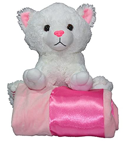 "HUGE SALE!! Kaela the Kitty 12"" Plush Stuffed Animal with Luxe Super Soft 30x30 Pink Receiving Blanket – Perfect Girl Baby Shower (Animal Baby Blankets For Girls)"