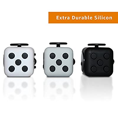 Wedual Fidget Cube Fidget Dice Toy - Now available in 13 different colors! - Relieves Stress & Anxiety, Helps to Focus - For Adults and Children - Extra Durable Silicon Non-Plastic Twiddle Cube