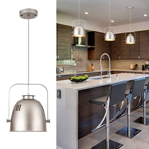 Industrial Pendant Light Metal 1-Light Pendant Island Light for Kitchen Island Dining Room, UL Listed Wires, Silver, by YIFI