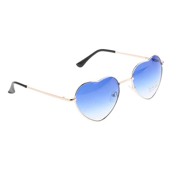 D DOLITY 1 Par de gafas de Sol forma de Corazón de Metal protector de Moda