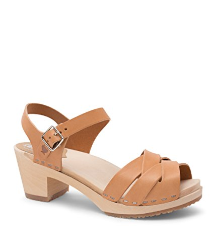 Sandgrens Swedish High Heel Wood Clog Sandals for Women | Rio Grande Nude, EU 42 ()