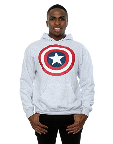 Marvel Men's Captain America Distressed Shield Hoodie X-Large Heather Grey