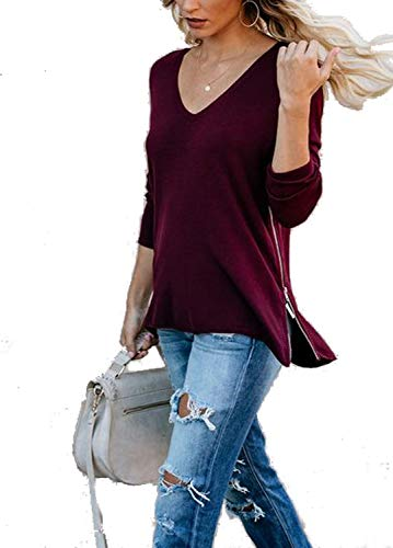 Halife Tunic Tops for Leggings for Women with Side Zipper Lo