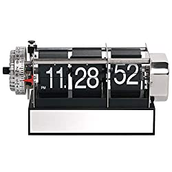 MIDCLOCK Flip Alarm Clock, Classic Vintage Flip Desk Clock, Flip Number Clock for Home Decor, Room Decor Flipping Clock with Alarm, Stainless Steel, Battery Powered (Classic Black)
