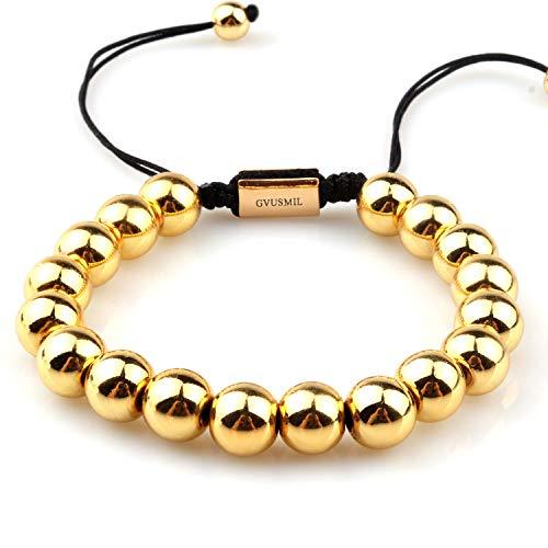 GVUSMIL 14k Gold Plated 6mm 8mm Beads Bracelet Charm Golden Beaded Braided Bangle Men Women