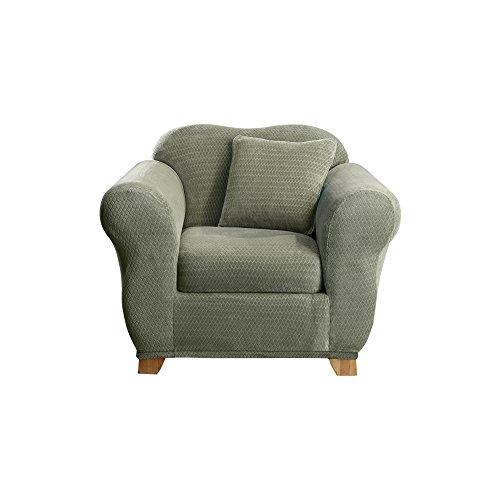 Sure Fit Stretch Royal Diamond 2-Piece - Chair Slipcover  - Sage - Slipcover Stretch Diamond
