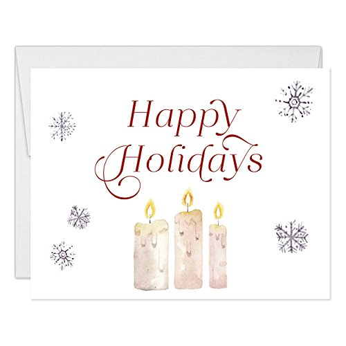 Happy Holidays Greeting Cards (Set of 25) Pretty Christmas Folded Notecards with Envelopes Blank Inside, Classic Typography Candles Snowflakes Winter Excellent Value by Digibuddha VH0001B -