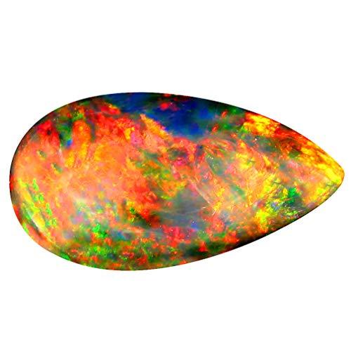 3.81 ct Pear Cabochon Cut (20 x 11 mm) Ethiopian Play of Colors Black Opal Loose Gemstone