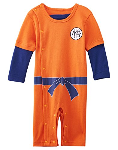 A&J Design Baby Boys' Dragon Ball Z Goku Son Long Sleeve Romper Costume