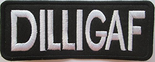 Nhl Club Collection (Dilligaf White On Black Slang Club Gang Biker Clothing Or Gear Iron On Patch)