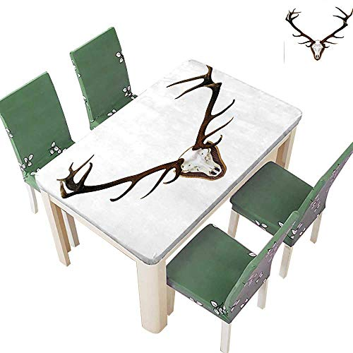 Polyester Tablecloth Table Cover Antlers of A Huge Stag Bones Mounted On A Wooden Plate Prize Skull for Dining Room 54 x 72 Inch (Elastic Edge)
