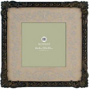 Antiqued finish brass w/brown mat GLORIA by Burnes® - 4x4