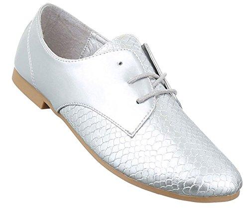 Damen Halbschuhe Schuhe Schnürer Elegant Gold Silber Weiß 36 37 38 39 40 41 Silber