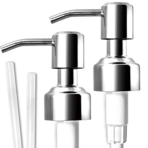 JASAI Durable 304 Rust Proof Stainless Steel Soap Pump, Kitchen Soap Dispenser Pump Replacement for Regular Mouth Bottle, 2 Pack