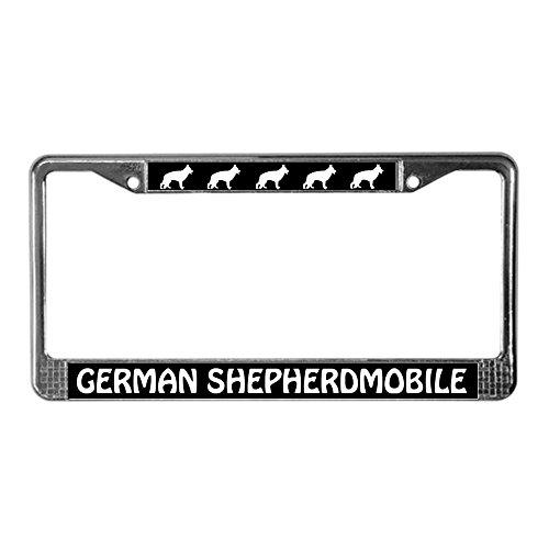 CafePress German Shepherdmobile Chrome License Plate Frame, License Tag Holder (License Plate Frame Cafe Press)